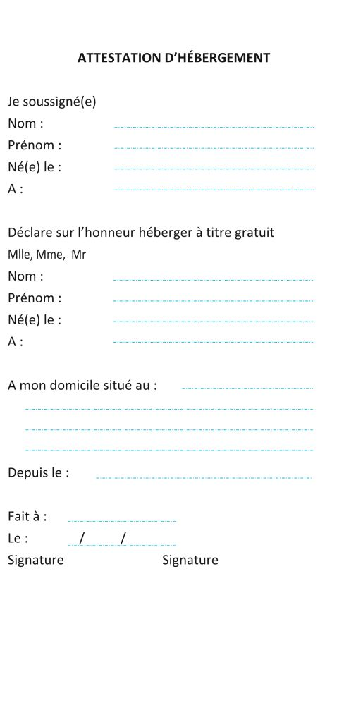 Attestation herbergement